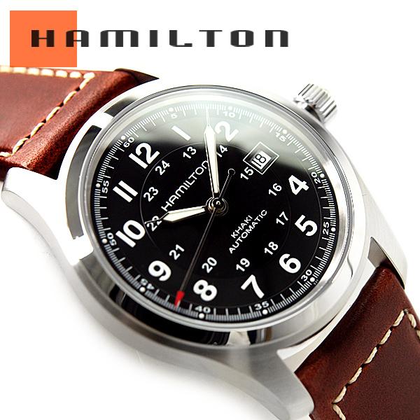64fae15ac HAMILTON Hamilton khaki field men self-winding watch watch black dial brown  leather belt H70555533