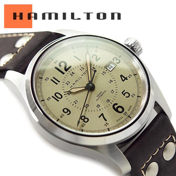 10cf35f1b26 HAMILTON Hamilton khaki field men self-winding watch watch beige dial dark  brown leather belt H70595523