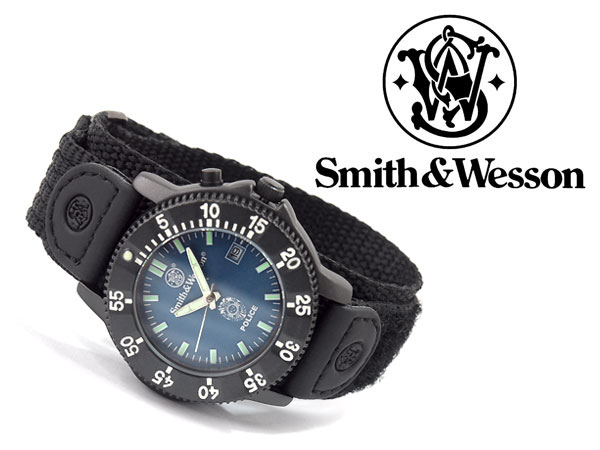 Smith&Wesson警察系列石英人手錶藍色撥盤黑色尼龍貝格羅伯特SWW-455P