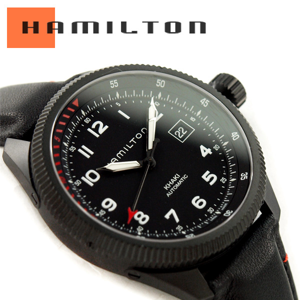 HAMILTON Hamilton KHAKI AVIATION khaki aviation Takeoff Auto Air Zermatt  off Auto Air Zermatt mens Watch analog self-winding automatic belt leather  black ... 8b41a6f081