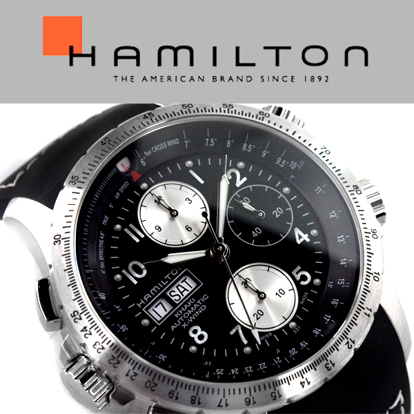 HAMILTON Hamilton Khaki Aviation X-Wind khaki Chrono Auto analog watch  chronograph automatic mens black silver H77616333 83b94a04fd8b