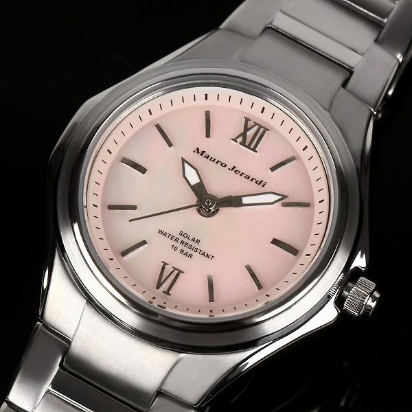 【Mauro Jerardi】 マウロジェラルディ ソーラー レディース腕時計 チタン ピンクダイアル MJ040-2【ネコポス不可】