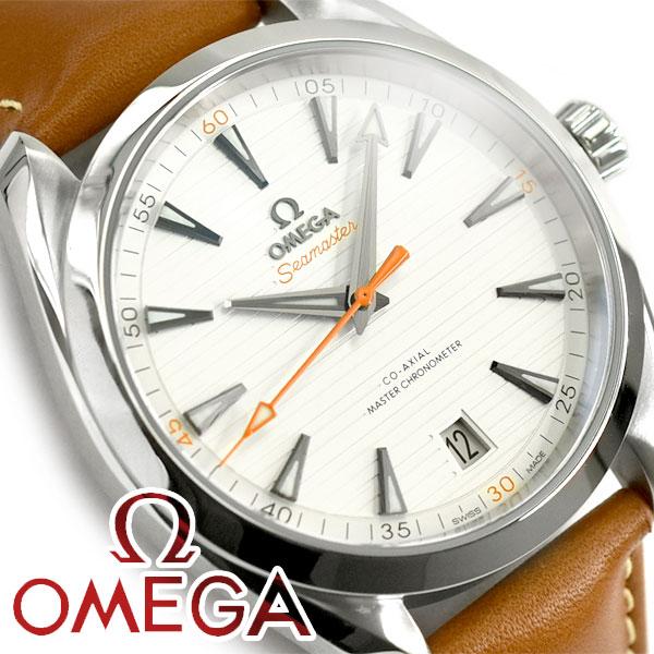 OMEGA オメガ シーマスター アクアテラ 自動巻き機械式 クロノメーター メンズ腕時計 ホワイトシルバーダイアル ブラウン レザーベルト 220.12.41.21.02.001