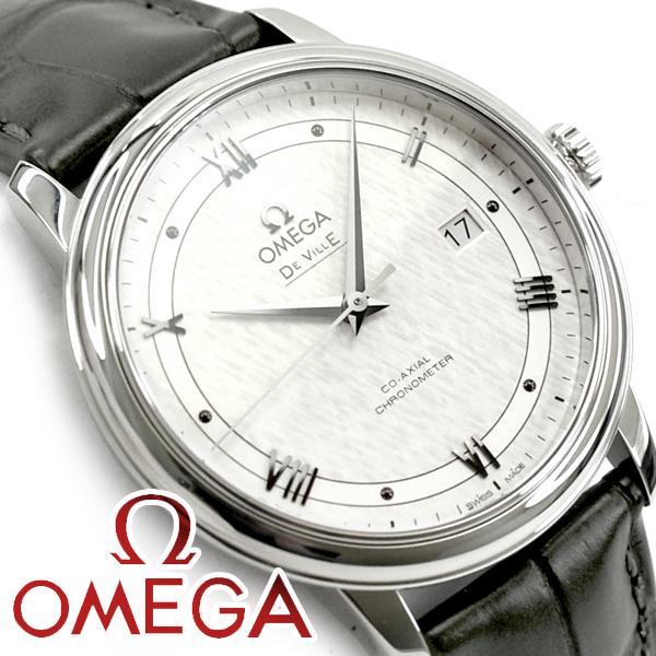 OMEGA オメガ デ・ヴィル プレステージ コーアクシャル 39.5 MM 自動巻きクロノメーター メンズ腕時計 ホワイトダイアル カーキグリーン レザーベルト 424.13.40.20.02.006