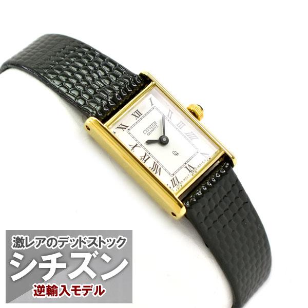 【逆輸入 CITIZEN】シチズン クォーツ レディース 腕時計 ホワイトダイアル ブラック レザーベルト EK2892-06A