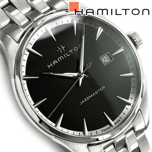 【Hamilton】ハミルトン ジャズマスター クォーツ メンズ腕時計 ブラックダイアル ステンレスベルト H32451131