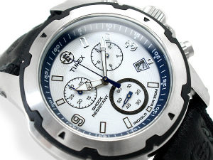 Timex Expedition outdoor men's Chronograph Watch White Dial leather belt T49781