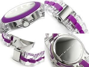 Marc Jacobs RIVERA Rivera Womens watch purple x White Dial clear see-through polycarbonate belt MBM4550