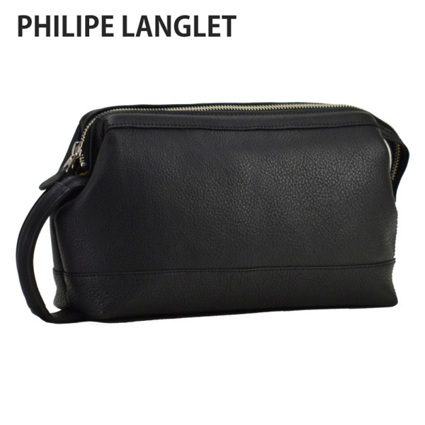 【PHILIPE LANGLET】 フィリップラングレー セカンドバッグ メンズ 豊岡製鞄 日本製 ブラック 25388-1
