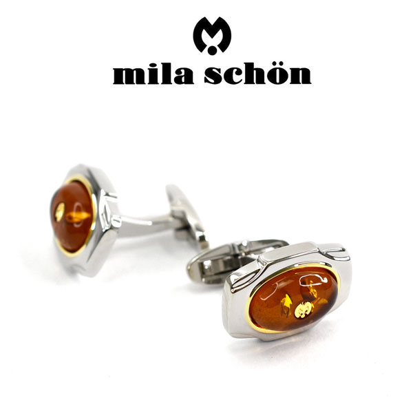 【mila schon】ミラショーン カフス 専用ボックス付き 琥珀 MSC20320