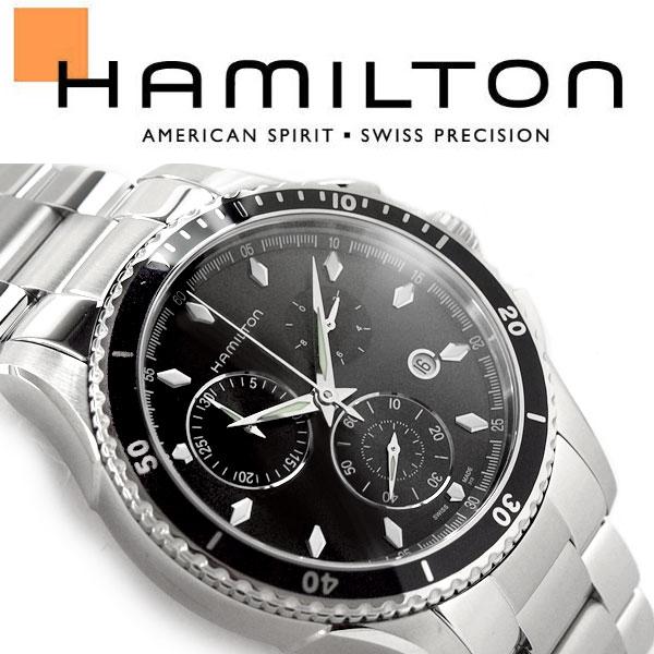 【Hamilton】ハミルトン ジャズマスター シービュー クロノグラフ クォーツ メンズ腕時計 ブラックダイアル ステンレスベルト H37512131【あす楽】