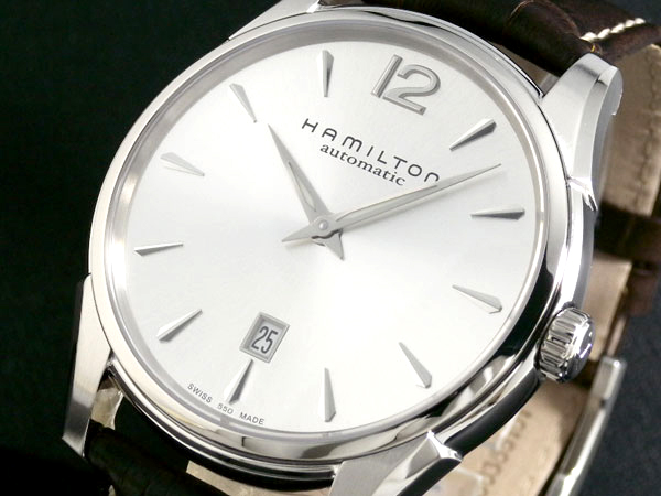 ハミルトン HAMILTON ジャズマスタースリム メンズ 自動巻き シルバーダイアル ダークブラウンレザーベルト H38615555 腕時計