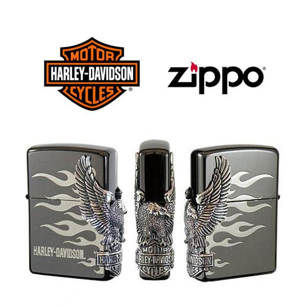 【ZIPPO Harley‐Davidson】ジッポオイルライター ハーレーダビッドソン サイドメタル ブラックイオンベース×シルバーメタル HDP-02【送料無料】【流通限定品】【ネコポス不可】