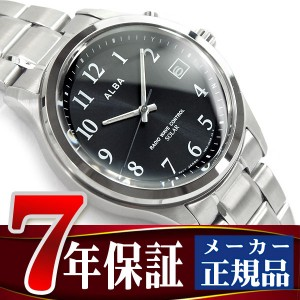 【SEIKO ALBA】セイコー アルバ ソーラー 電波 メンズ 腕時計 10気圧防水 電波時計 ブラック AEFY501