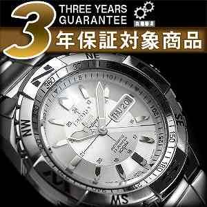 【逆輸入SEIKO5SPORTS】セイコー5スポーツ メンズ自動巻き腕時計 シルバーダイアル シルバーステンレスベルト SNZJ03J1【あす楽】