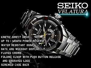 SEIKO seawife chula kinetic direct drive men watch black dial silver stainless steel belt SRH015P1