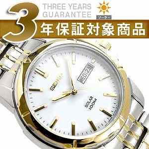 【逆輸入SEIKO Solar】セイコー メンズ腕時計 ソーラー デイデイト ホワイトダイアル ゴールドコンビステンレスベルト SNE094P1
