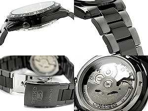SEIKO 5 self-winding watch men watch black gunmetal combination belt SNKE03J1