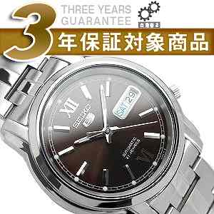 SEIKO 5 men's self-winding watch watch Dai Brown Al silver stainless steel belt SNKK79K1