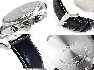 SEIKO chronograph men watch gray black dial black calf-leather belt SNN231P2