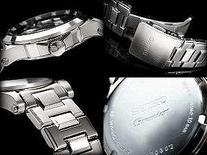 セイコープルミエキネティックパーペチュアルメンズ watch black dial stainless steel belt SNP003P1