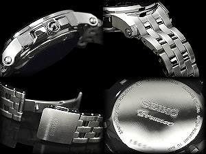 SEIKO pull Mie kinetic men watch black stainless steel belt SNP041P1
