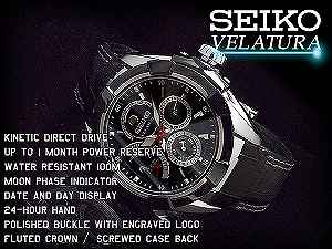 SEIKO seawife chula kinetic direct drive men watch black dial black leather belt SRX009P2