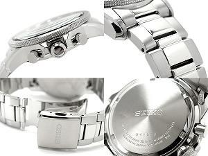 SEIKO men alarm chronograph solar watch black X orange dial stainless steel belt SSC077P1