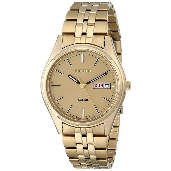 最安値級価格 セイコー 腕時計 SEIKO メンズ 腕時計 時計 SNE036 SOLAR ソーラー ゴールド 男性用 ウォッチ 曜日 日付 カレンダー 送料無料 プレゼント, ミヤムラ 5cab8503