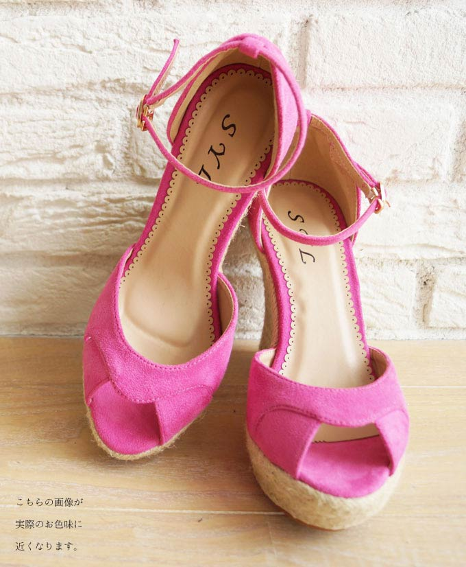 'french' summer sandal wedge sole 6 / 24 new with pink