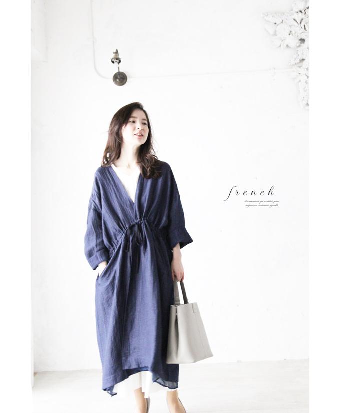【再入荷♪5月23日12時&22時より】「french」素敵な濃藍色の羽織り