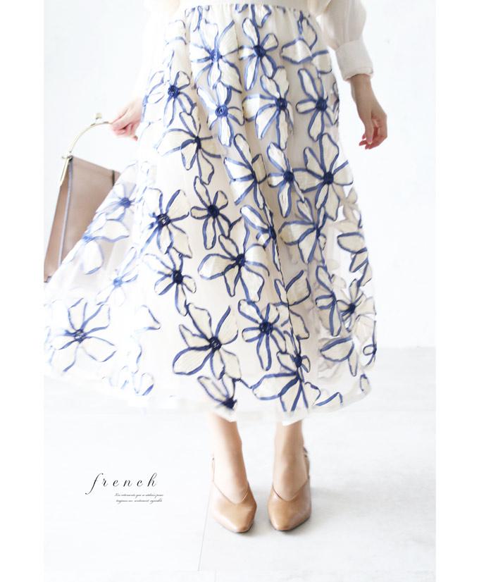 【再入荷♪5月20日12時&22時より】「french」リボンの花咲くチュールスカート