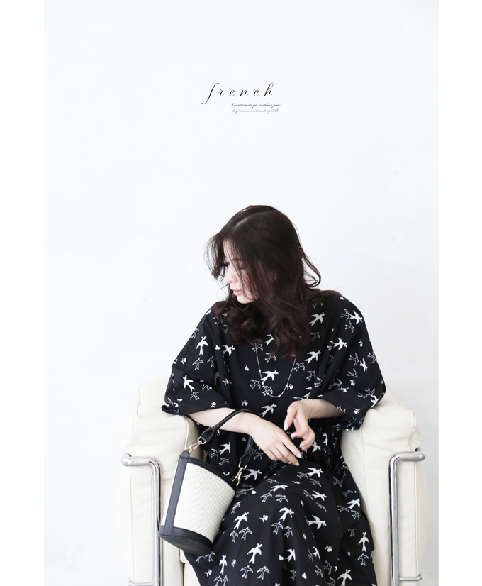 「french」羽ばたく鳥刺繍のゆったりワンピース6月5日22時販売新作/Z3, 選んで屋:f383c80a --- formalworld.jp