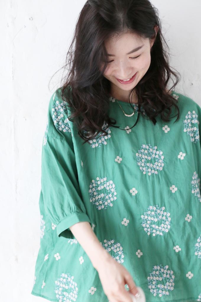 (M~2L対応)(グリーン)「FRENCH PAVE」紫陽花刺繍のふんわりトップス