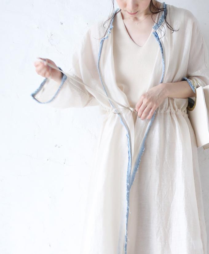 【再入荷♪4月10日12時&22時より】「french」デニムで縁取る涼しげな羽織り