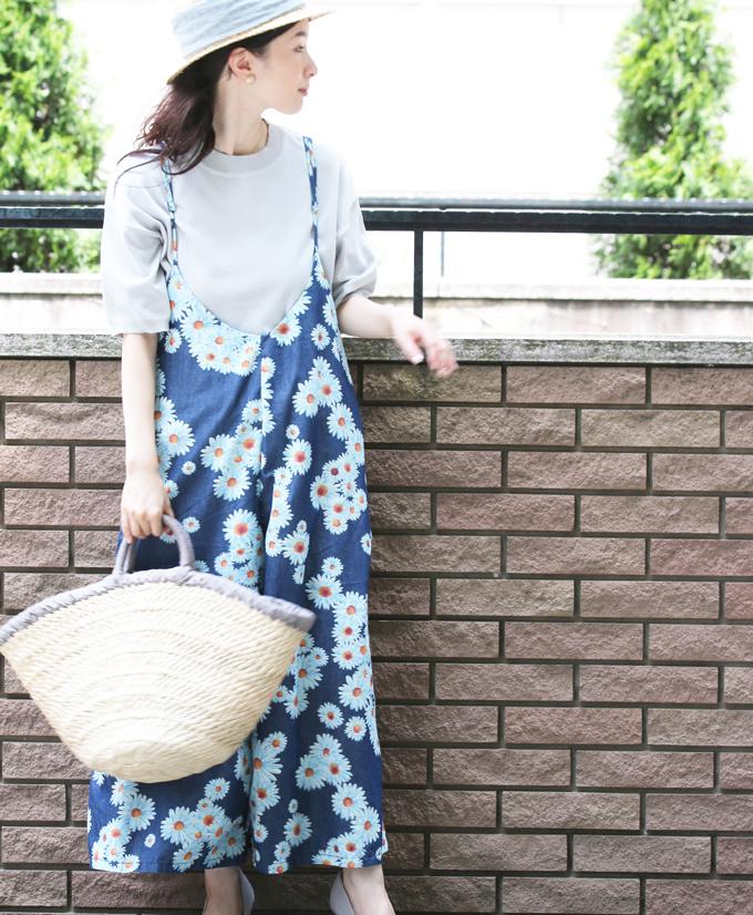 【再入荷♪3月31日12時&22時より】「french」爽やかブルーの花咲くサロペット