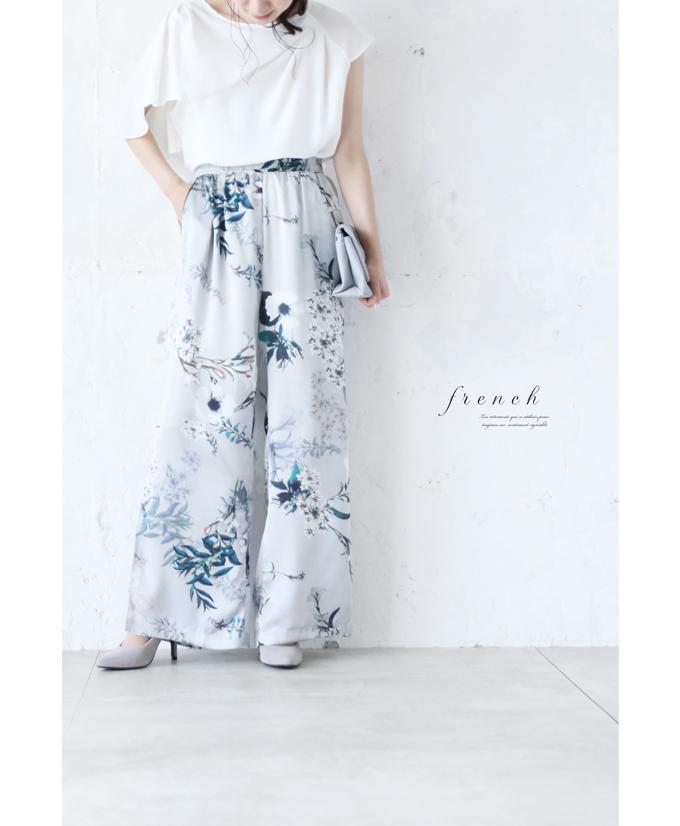 「french」アートな花で魅せるサテンパンツ7月22日22時販売新作