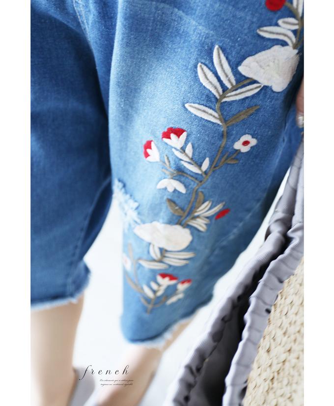 「french」見惚れる刺繍の大人なハーフデニムパンツ7月21日22時販売新作
