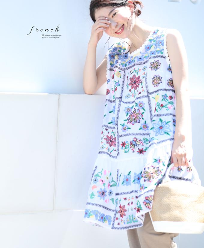 ▼▼「french」鮮やかな刺繍咲くチュニック8月3日22時販売新作