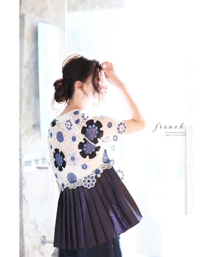 (S~M対応) 「FRENCH PAVE」後ろプリーツの花レーストップス