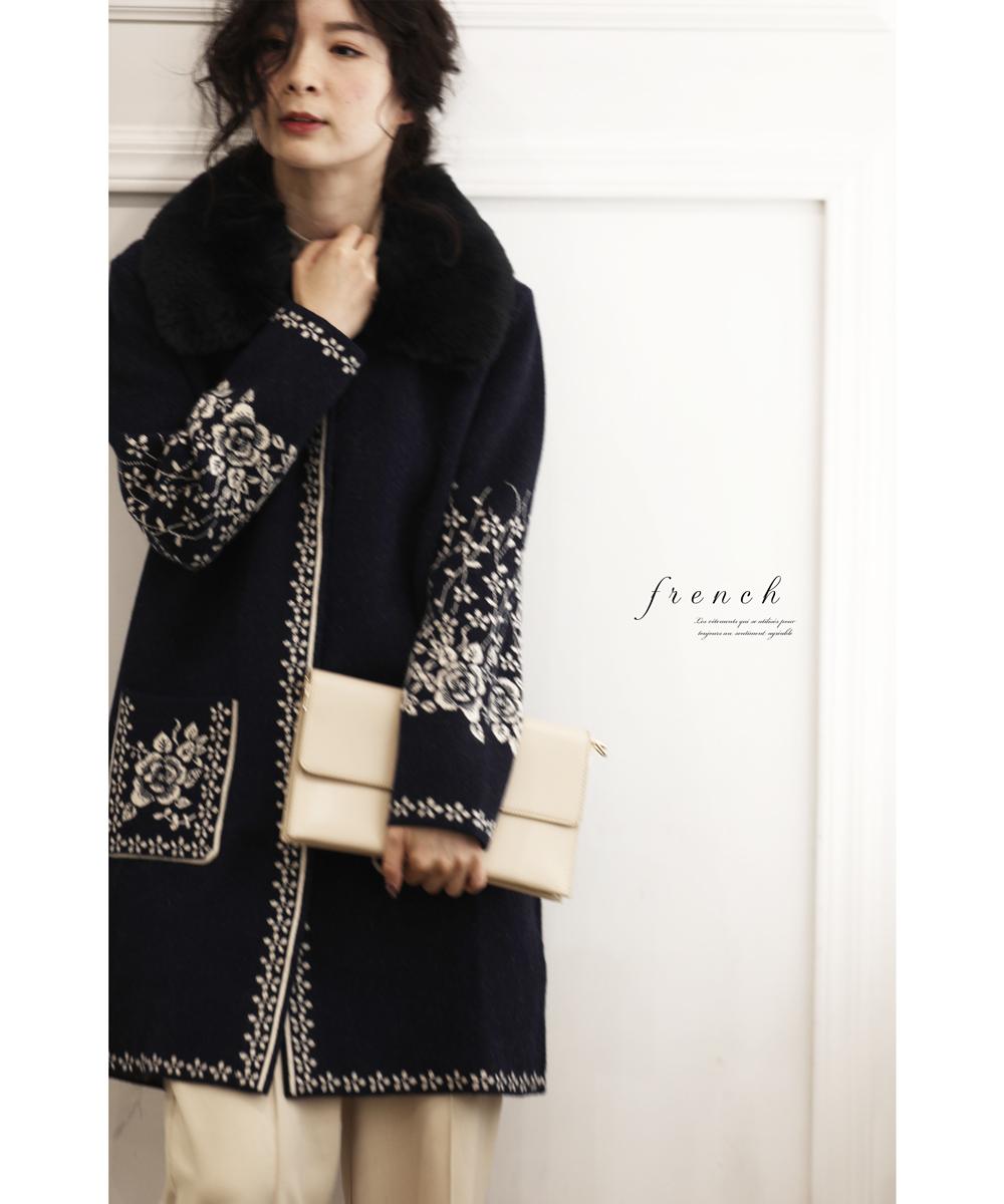 【再入荷♪12月12日12時&22時より】「french」(フェイクファー)ファーカラーの花咲くニットコート