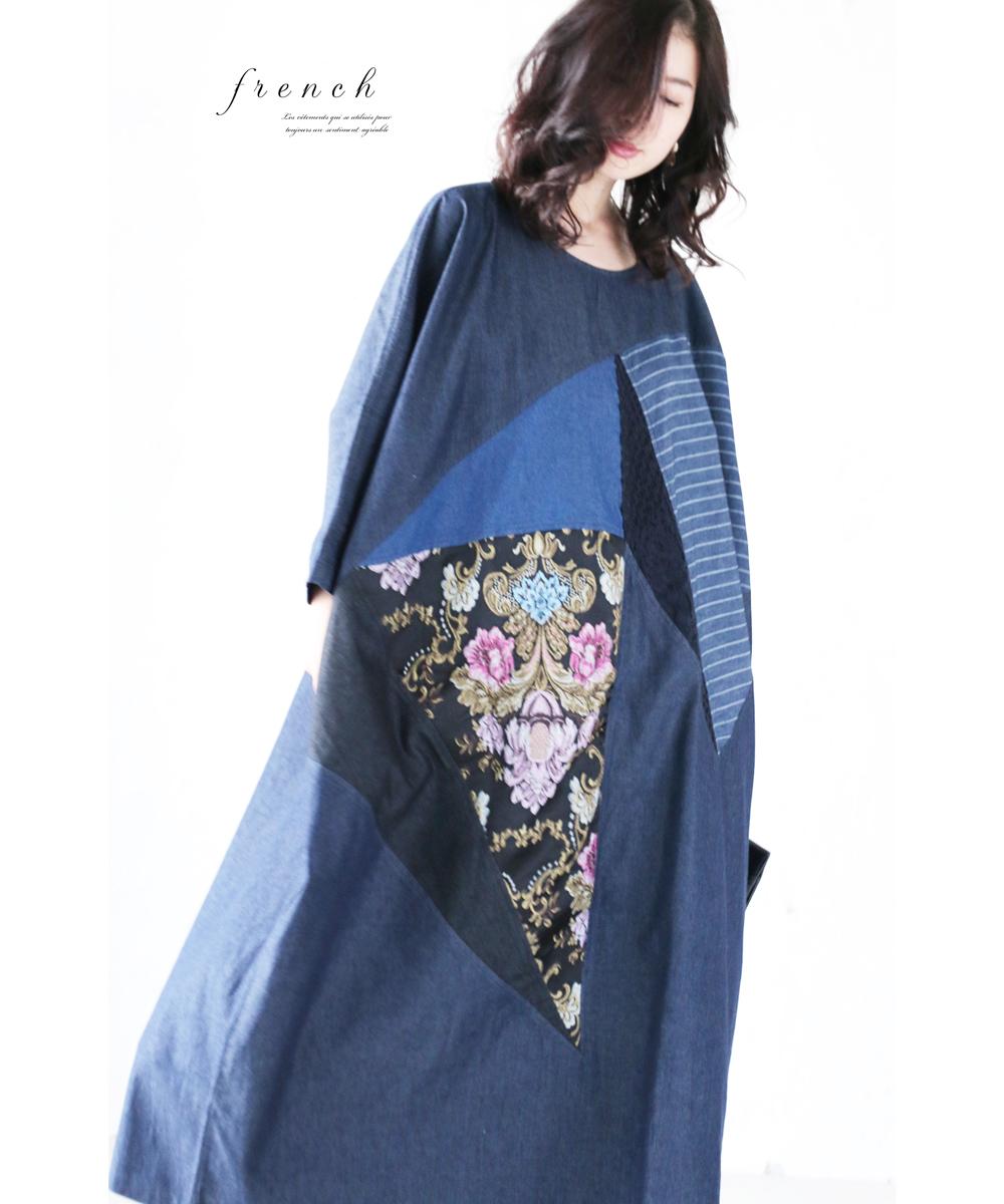【再入荷♪9月14日12時より】「french」品格刺繍のパッチワーク風ドルマンワンピース