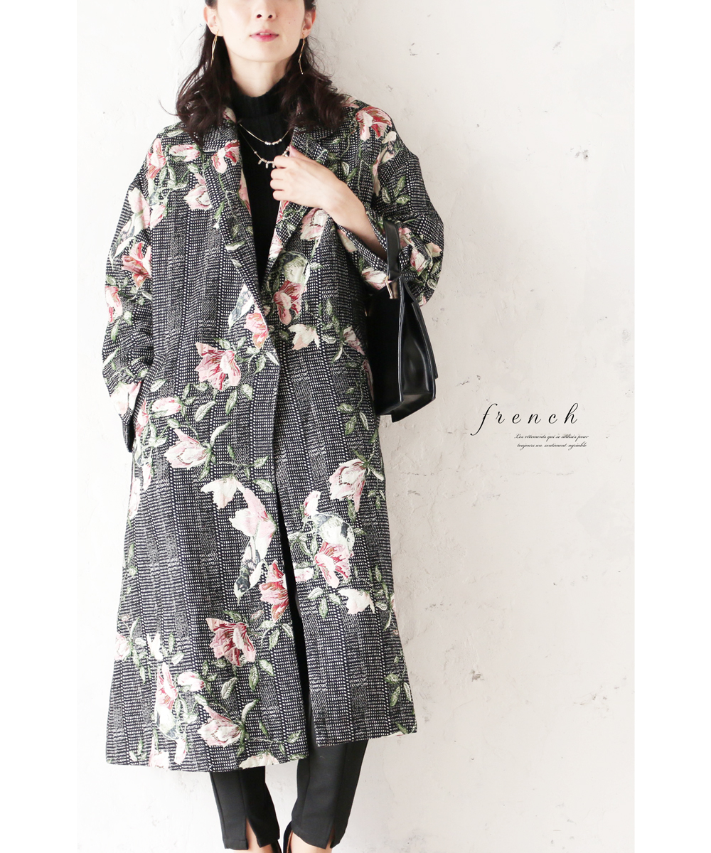 (S~L対応) 【再入荷♪12月22日12時&22時より】「FRENCH PAVE」花に寄り添う鳥たちの優美なコート