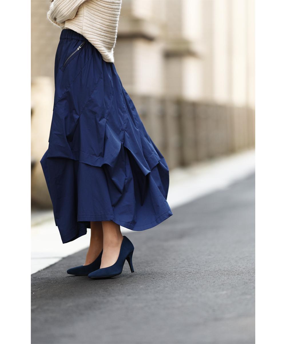 (M~3L対応) 【再入荷♪8月2日12時&22時より】(ブルー)「french」frenchオリジナル。流れるタックドレープスカート/Z9
