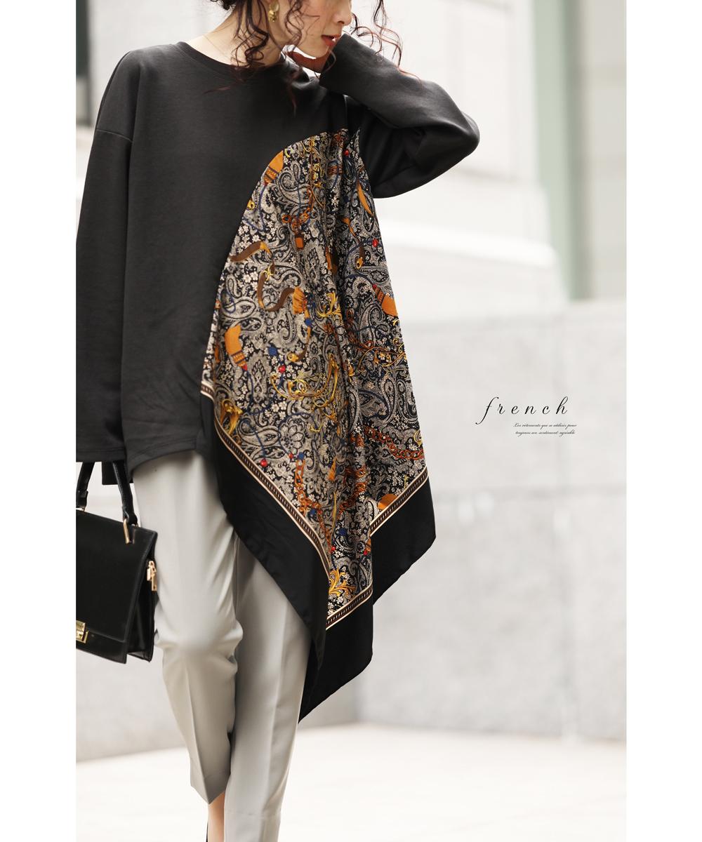 【再入荷♪1月23日12時&22時より】(ブラック)「french」揺れるスカーフが品格溢れるトップス