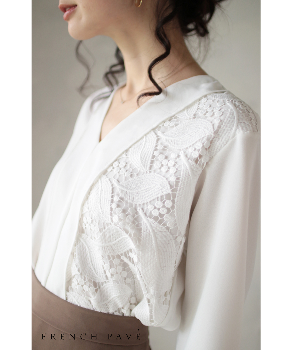 (S~M対応) 【再入荷♪8月21日12時&22時より】「french」リーフ刺繍が織りなすシンプルなブラウストップス