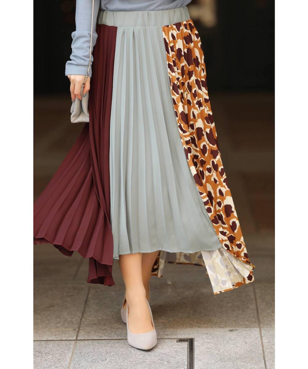 「frenchpave」カラーと柄。目を惹く配色を愉しむプリーツスカート1月10日22時販売新作