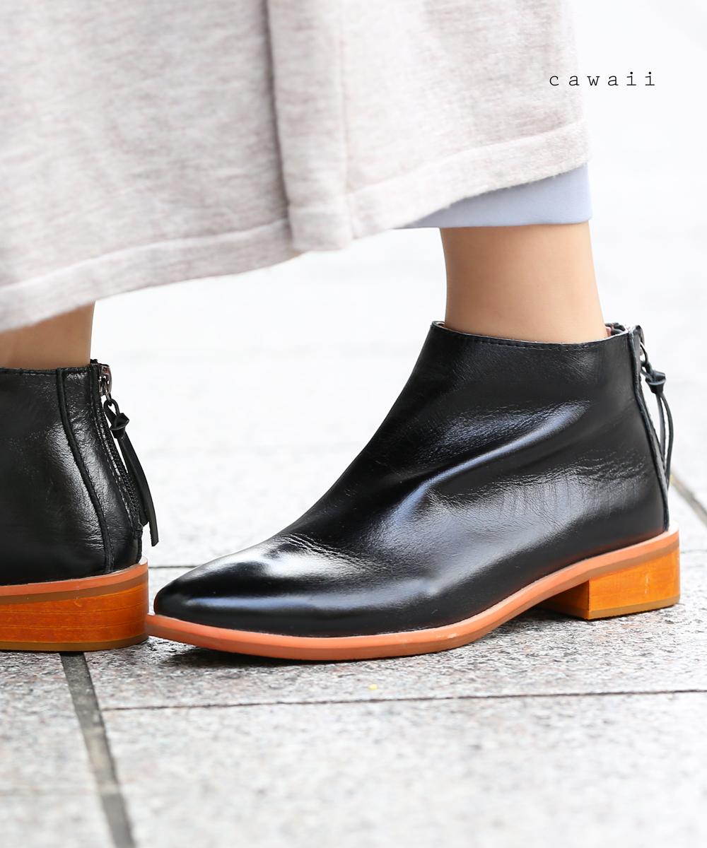 【再入荷♪8月18日12時&22時より】(ブラック)「cawaii」上品な艶感にタフさを演出するジップ入りショートブーツ靴 シューズ