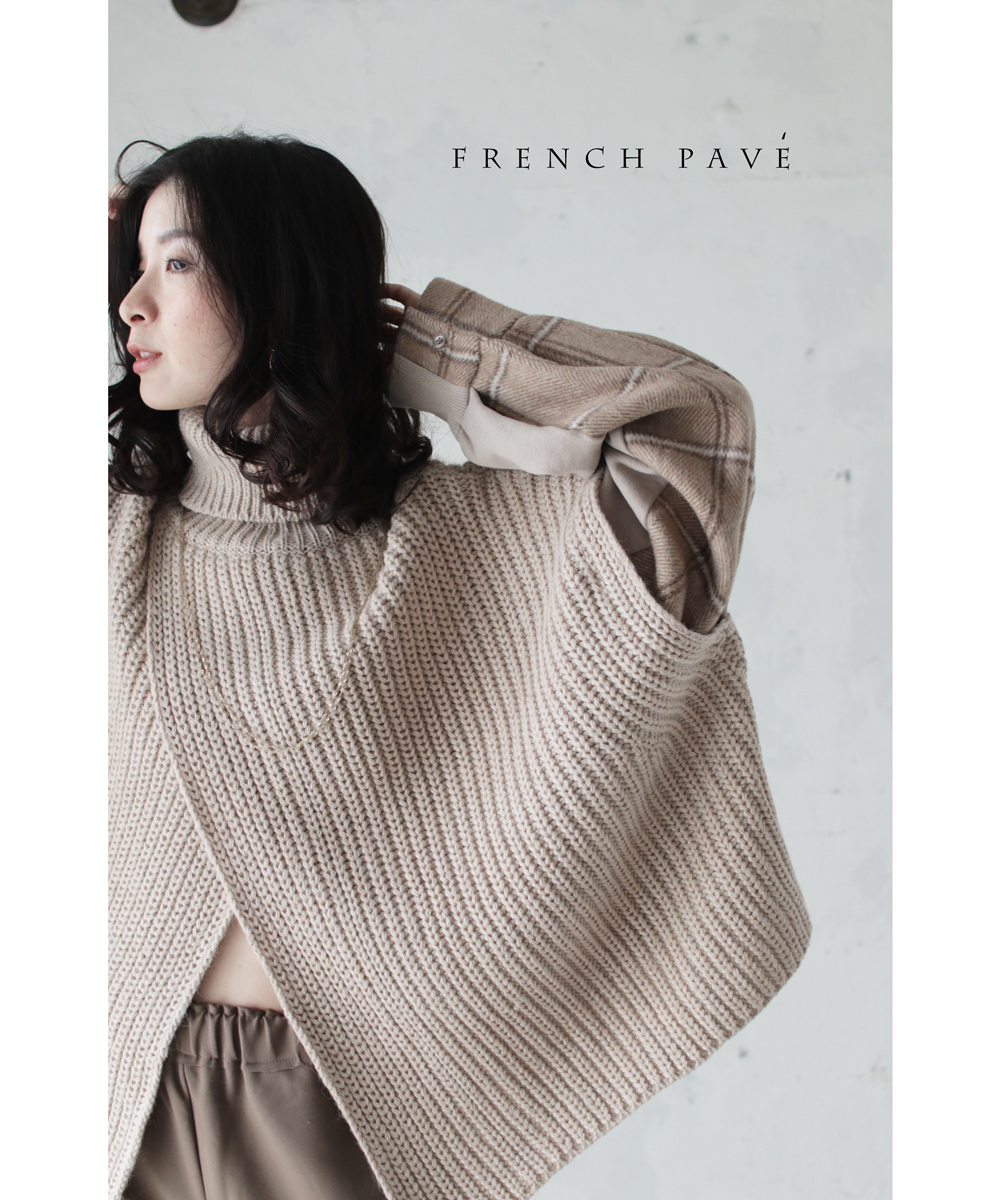 「french pave」切り替えチェックスリーブの重ね着風ニットトップス1月25日22時販売新作