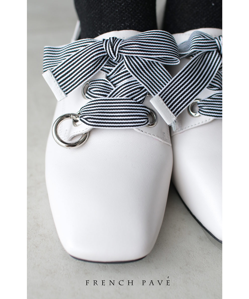 4/13 22時から残りわずか*「frenchpave」爽やかなストライプリボンのスクエアトウシューズ靴